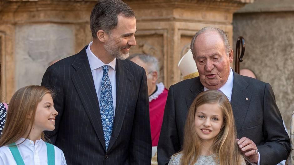 Prinzessin Sofia, König Felipe, Juan Carlos undPrinzessin Leonor