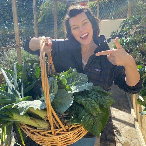 Model und Schauspielerin Milla Jovovic baut selbst ihr Gemüse an.