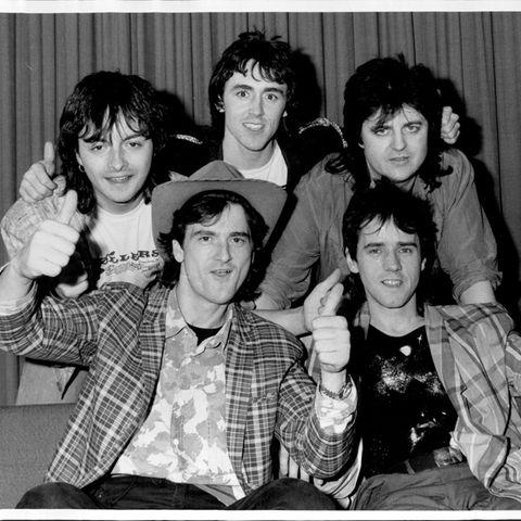 "Ian Mitchell (†, links), Pat McGlyn, Eric Faulkner, Les McKeown - front & Stuart ""Woody"" Wood"