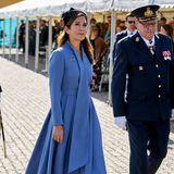 Formelles Event, formeller Style: Beim Dänischen Flaggentag zeigt sich Prinzessin Mary in einem eleganten fliederfarbenen Blazerkleid, dazu kombiniert sie schwarze Accessoires wie Pumps, Clutch, Hut und Handschuhe.