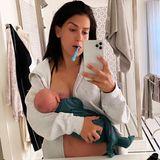 Stillen, Selfies, zähneputzen: Hilaria Baldwin ist gerade mal dreieinhalb Tage nach der Geburt ihres fünften Kindes Eduardo schon der amtierende Champion im Multitasking.