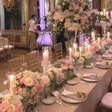 Die elegante Tischdeko wurde perfekt auf das prunkvolle Äußere der Fünf-Sterne-Residenz abgestimmt: Rosen in kleinen Bouquets und sandige Töne stehlen dem goldenen Stuck, den Kronleuchtern und den Wandgemälden nicht die Schau. Die goldenen Stühle an der langen Tafel runden den eleganten Look ab.