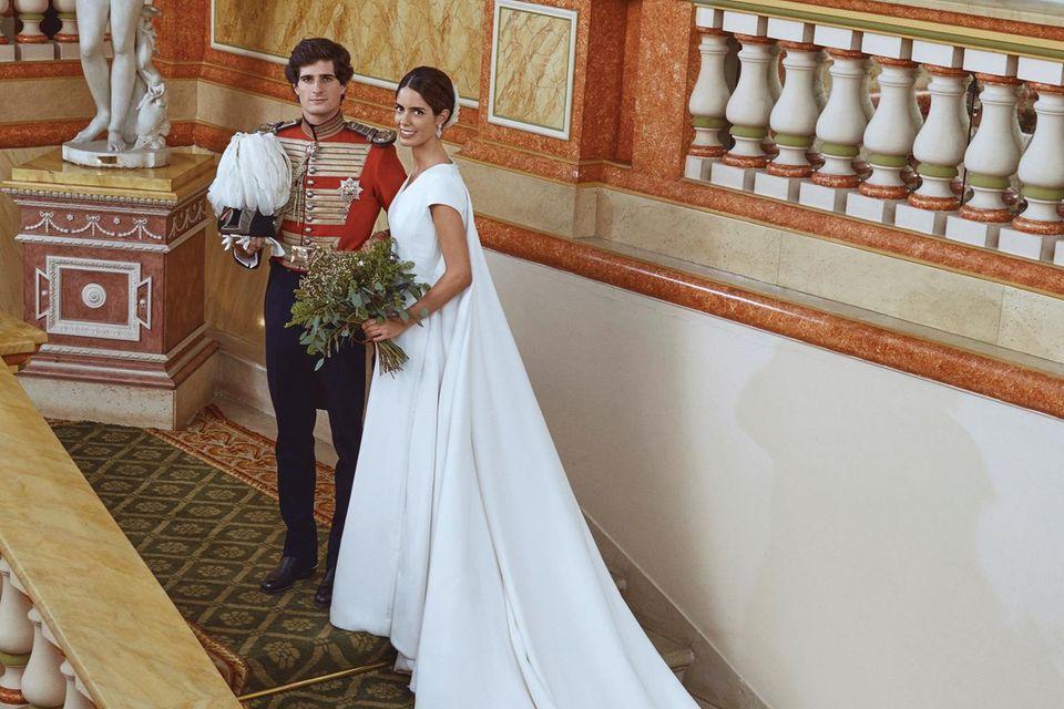 Der Herzog und die Herzogin von Huéscar bei ihrer Hochzeit im Liria-Palast in Madrid.