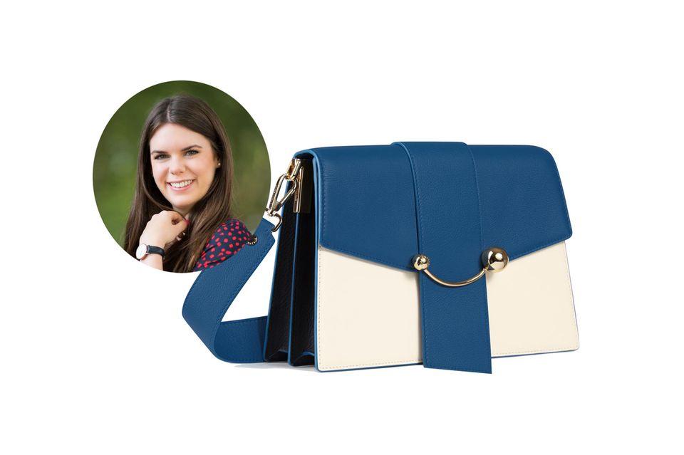 Online-Redakteurin Jessica wertet ihr Wedding-Guest-Outfit am liebsten mit einer Hingucker-Tasche, wie dieCrescent Shoulder von Strathberry auf.