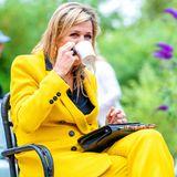 Bei diesem farbenfrohen Sommeroutfit, hat KöniginMáxima einen extra Muntermacher doch eigentlich gar nicht nötig.