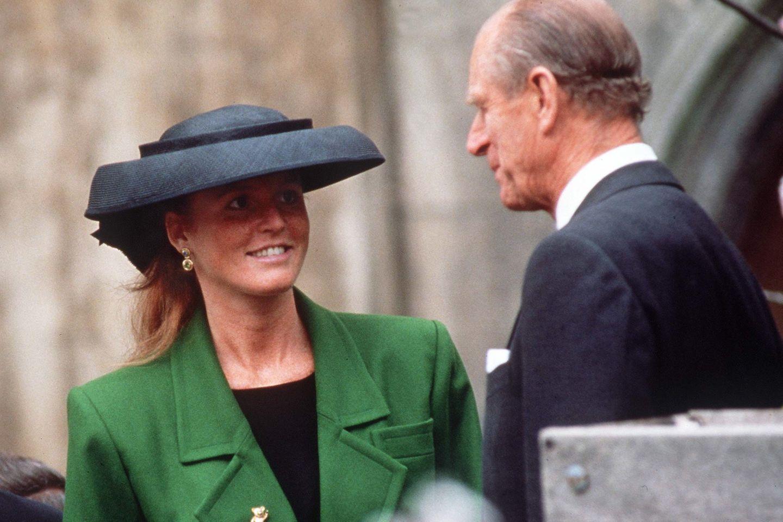 Sarah Ferguson und Prinz Philip bei einem Gottesdienstbesuch Anfang der 1990er Jahre.