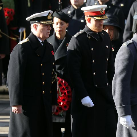 Prinz Andrew mit Prinz Harry und Prinz William (v.l.n.r.) beim Remembrance Sunday 2019.