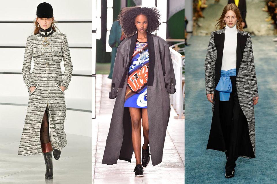 Lange Mäntel auf den Laufstegen bei Chanel, Louis Vuitton und Carolina Herrera.