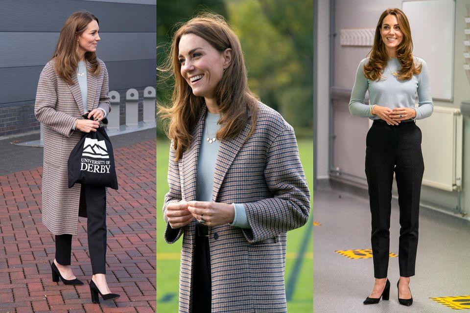 Kate wählt mit diesem karierten Mantel von Massimo Dutti ein - für sie - ungewöhnlich lässiges It-Piece, das ihren eleganten Look sofort cooler wirken lässt.