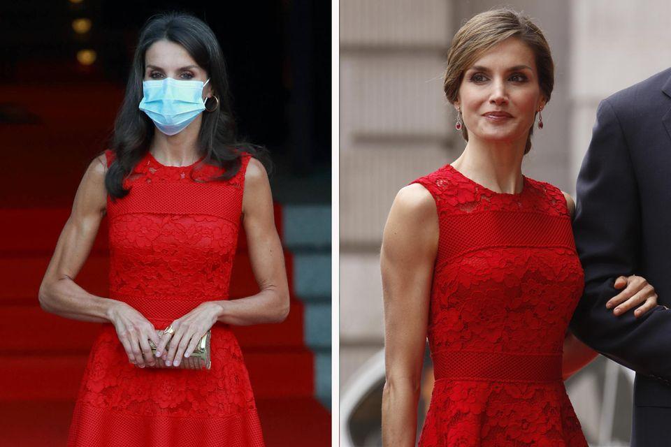 Königin Letizia setzt auf einen Mode-Recycler beimOpernbesuch 2020. Das Kleid von Carolina Herrera trug sie bereits 2017.