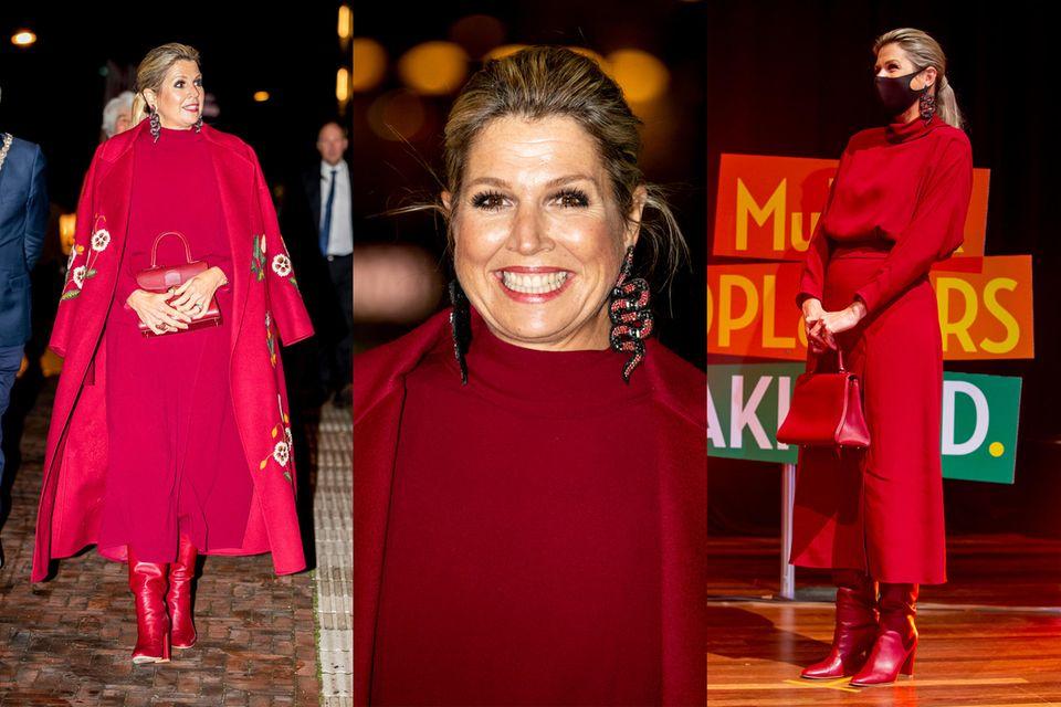 Königin Máxima setzt auf einen Ton-in-Ton-Look in Rot - und strahlt!