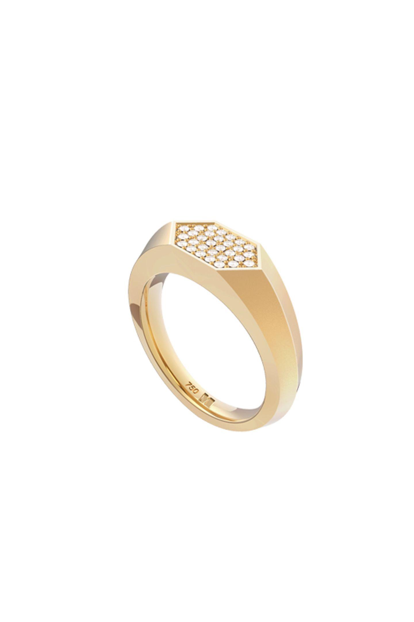 """Ein Schmuckstück für die Ewigkeit: Der """"Sunray Signet Ring"""" von Maren Jewellery ist ausrecyceltem 18 Karat Gold und mit 30 handgefassten synthetischen Eco Diamanten aus der Schweiz besetzt, kostet je nach Größe zwischen 2345 und2945 Euro."""