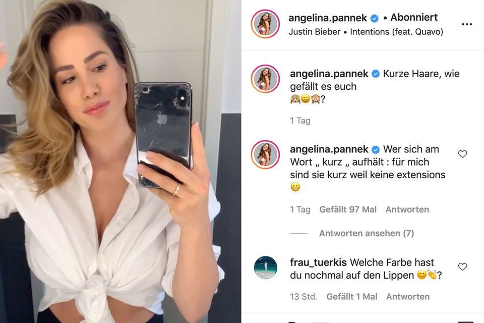 Angelina Pannek gibt auf Instagram ein Frisuren-Update.
