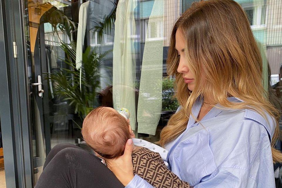 Ann-Kathrin Götze mit Sohn Rome