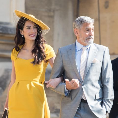 Amal und George Clooney am 19. Mai 2018 auf dem Weg zur Hochzeit von Meghan Markle und Prinz Harry.