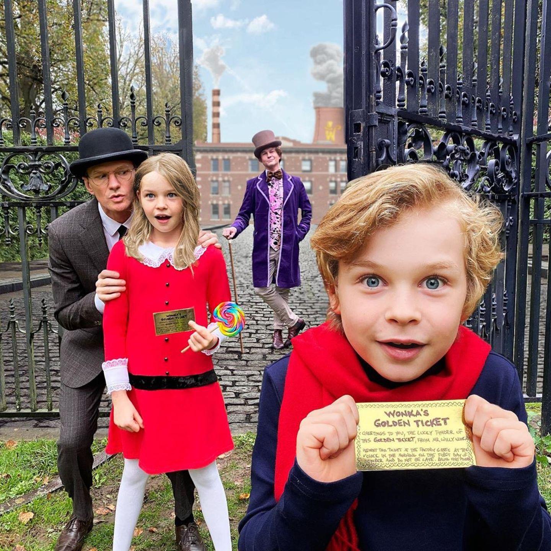 """Schauspieler Neil Patrick Harris und Ehemann David Burtka sind bekannt für ihre kreativenHalloween-Inszenierungen. Zusammen mit ihren beiden Kindern tauchen sie regelmäßig in neue Fantasiewelten ein, so wie bei """"Charlie und die Schokoladenfabrik"""". Toll!"""