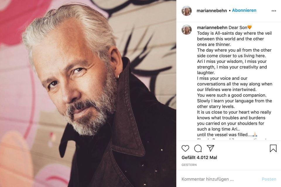 Marianne Behns traurige Worte an ihren verstorbenen Sohn Ari
