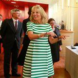 Der wie sie selbst so fröhliche Streifen-Look in Grün und Weiß steht der zukünftigen First Lady ausgezeichnet.