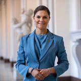 Prinzessin Victoria im hellblauen Blazer von Tiger of Sweden am Weltdiabetestag
