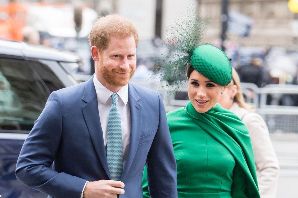 Herzogin Meghan im Emilia-Wickstead-Kleid am 9. März 2020, wenige Tage bevor sie offiziell ihre Tätigkeiten als Senior-Royal ablegte.