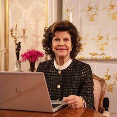 """Auch für Königin Silvia ist die Teilnahme an der Webkonferenz eine Herzensangelegenheit. Im digitalen """"Action Lab"""" nimmt sie an der Diskussion zum Thema Kinderrechte teil."""