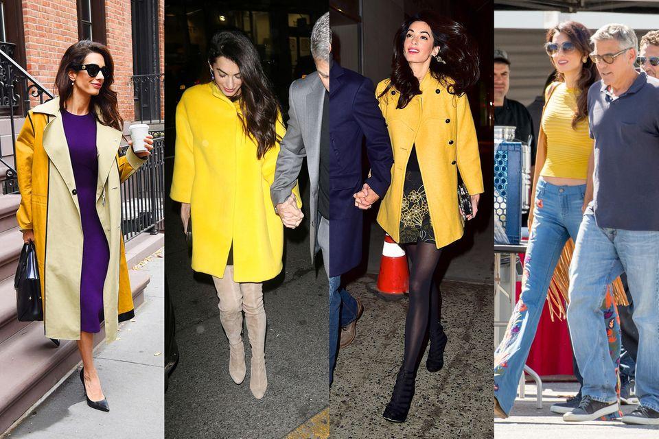 Amal Clooney besitzt mehrere gelbe Mäntel und Oberteile in knalligem Gelb.