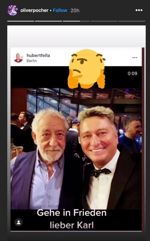 Hubert Fella (r.) postet versehentlich ein Foto mit Didi Hallervorden statt mit dem verstorbenen Karl Dall.