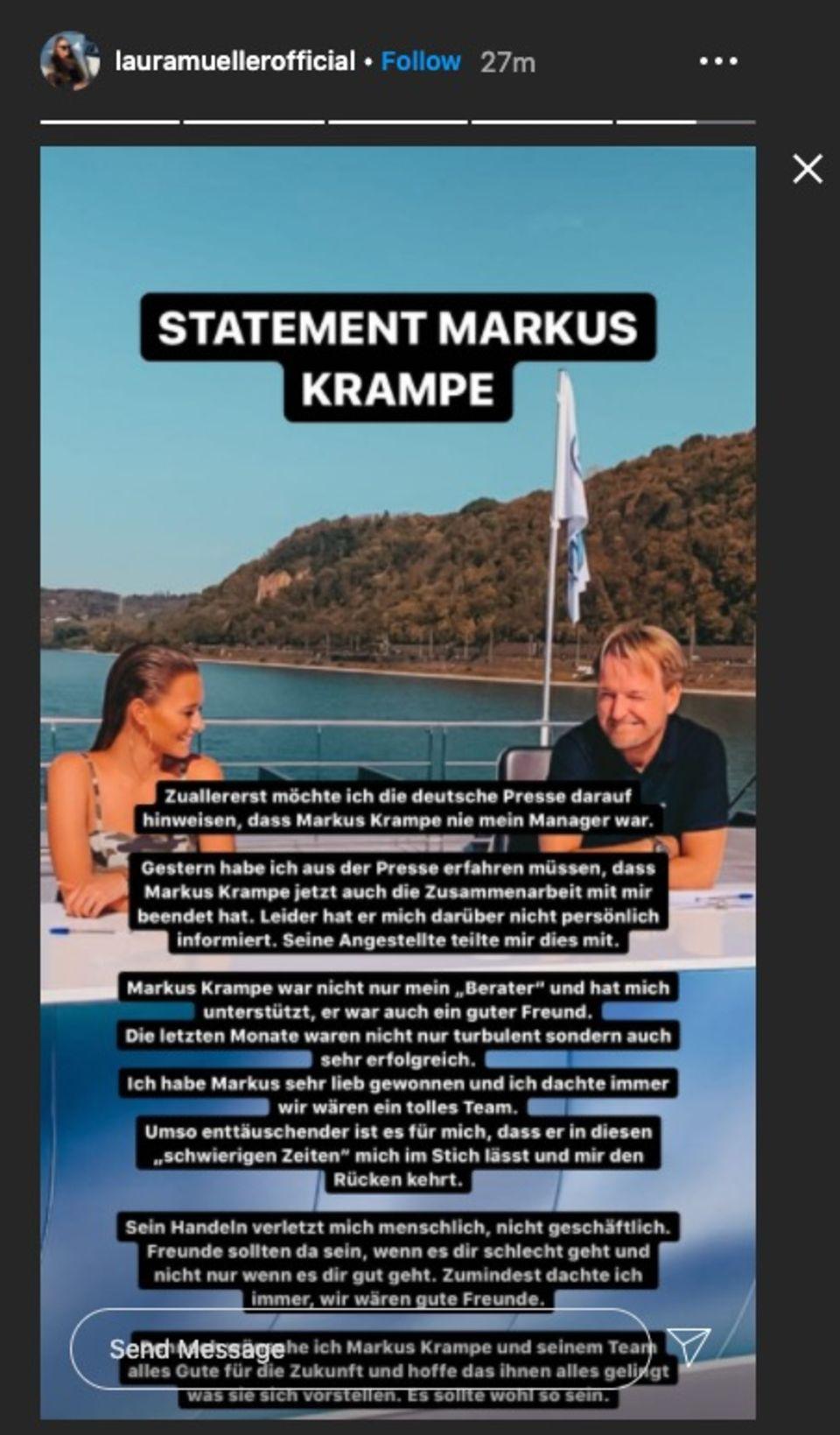 Auf Instagram teilt Laura Müller ein Statement zu Markus Krampe.