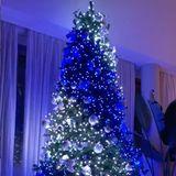 Mega-Influencerin Chiara Ferragni kann mit einer schnöden Lichterkette nichts anfangen. Ihre Baumdekoration wechselt im Sekundentakt die Farbe und hat knallige Farbverläufe im Programm. Wer's mag...