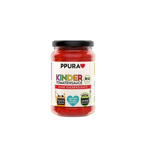 """Tatkräftige Tomatensoße Für jedes verkaufte Glas Soße wird ein Paket Bio-Pasta an die Arche und Children e.V. gespendet - damit Kinderarmut in Deutschland endlich der Vergangenheit angehört. """"Zuckerfreie Kinder-Tomatensoße"""" von Ppura, ca. 2,50 Euro"""