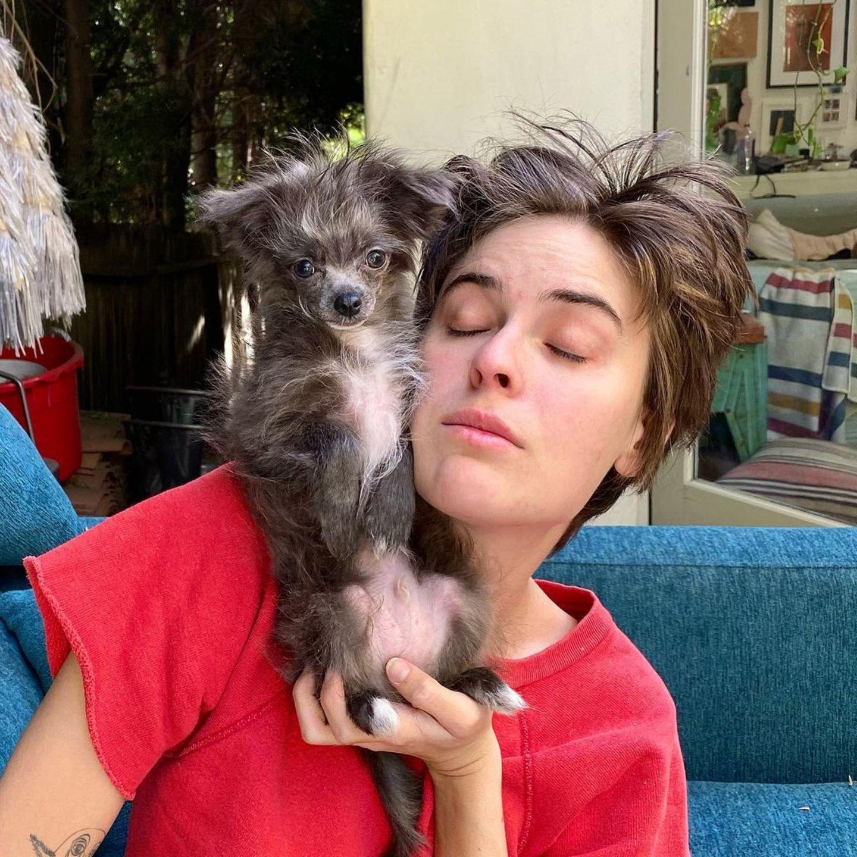 """Gleiche Haarfarbe und zerzauste Mähne: Hat Tallulah Willis etwa einen tierischen Doppelgänger? Die jüngste Tochter von Actionstar Bruce Willis und ihr Hündchen könnten glatt als """"Haar-Zwillinge"""" durchgehen, schreibt Model Helena Christensen zum witzigen Instagram-Bild. Wir finden: Sie hat recht."""