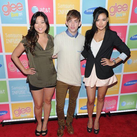 """Naya Rivera (r.) mit ihren """"Glee""""-Kollegen Jenna Ushkowitz (l.) und Kevin McHale bei einem Event."""