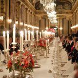 Der Speisesaal im königlichen Schloss in Stockholm ist ganz schön beeindruckend - hier während des Dinners für die Nobelpreisträger.