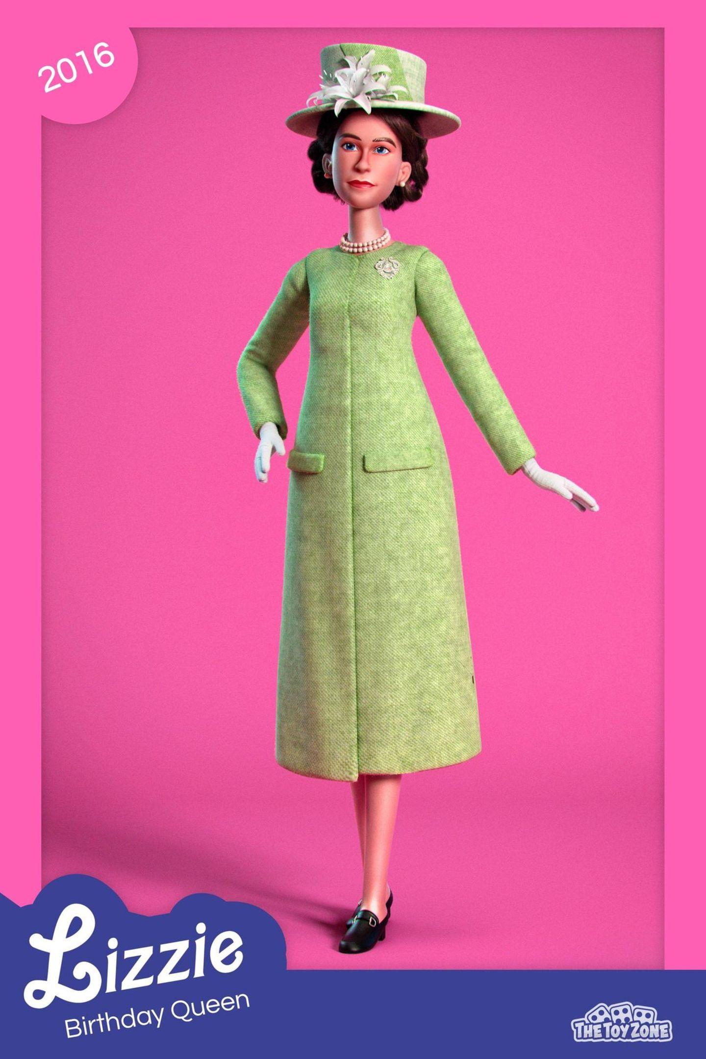 """Die Website des in London ansässigen Unternehmens NeoMam Studios Ltd. hat es sich zur Aufgabe gemacht, die schönsten Looks der Queen als digitale Puppe – angelegt an die bekannte """"Barbie""""-Puppe – zu kreieren. Darunter ein grasgrüner Signature-Look der Queen mit Perlenkette und passendem Hut."""