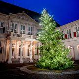 2. Dezember 2020  Der Weihnachtsbaum vor dem Noordeinde Palast in Den Haag erstrahlt in voller Pracht.