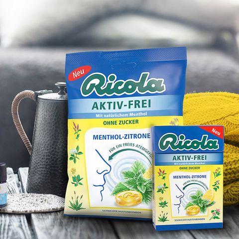 Gewinnspiel: Ricola AKTIV-FREI Menthol-Zitrone – das erfrischend-fruchtige Schweizer Hustenbonbon