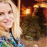 """""""Zwei Blondinen, die auf den Sonnenaufgang warten"""" schreibt Jessica Simpson unter dieses süße Bild mit Hündchen und Tannenbaum. So früh morgens schon so frisch auszusehen finden wir besonders bemerkenswert."""