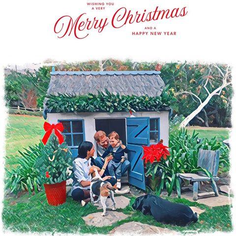 """Herzogin Meghan und Prinz Harry veröffentlichen am 23. Dezember 2020 diese Weihnachtskarte über den Twitter-Kanal der Tierschutz-Organisation """"The Mayhew"""". Das dazugehörige Foto mit Baby Archie hat Doria Ragland, die Mutter der Herzogin, aufgenommen. Es ist nachträglich von den Royals mit einem Filter bearbeitet worden."""