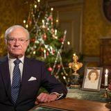 16. Dezember 2020  Auf SchlossDrottningholm zeichnet König Carl Gustaf seine Weihnachtsansprache auf.