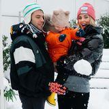 Chiara Ferragni und Mann Fedez freuen sich genauso wie Sohn Leo über ein verschneites Mailand.