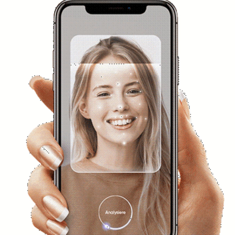 Hautanalyse auf der Smartphone App Sqin