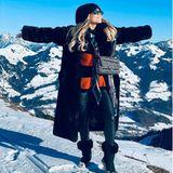 Stylisch wie immer, begrüßt Sylvie Meis das neue Jahr aus den verschneiten Bergen.