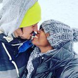 Das neue Jahr beginnen Motsi Mabuse und ihr MannEvgenij Voznyuk mit einem Spaziergang im Schnee.