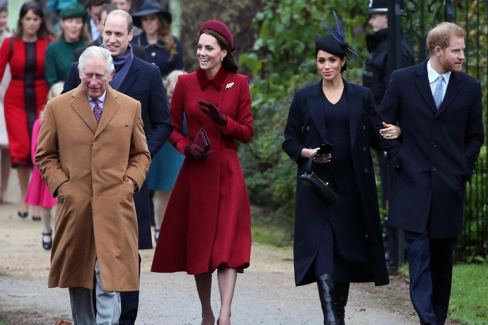 Prinz Charles, Prinz William, Herzogin Catherine, Herzogin Meghan und Prinz Harry