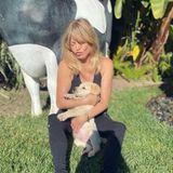 Gut festhalten! Goldie Hawn will ihr neues Familienmitglied Roy gar nicht mehr loslassen.
