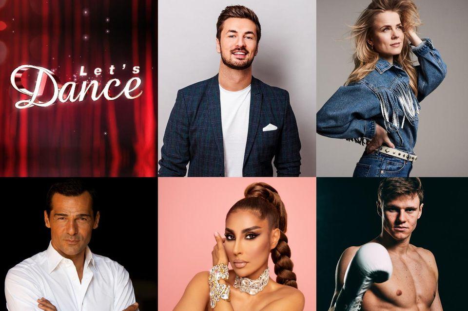 """Wollen sich bei """"Let's Dance"""" 2021 beweisen: Nicolas Puschmann, Ilse DeLange, Jan Hofer (oben v.l.n.r.),Erol Sander, Senna Gamour, Simon Zachenhuber und Lola Weippert (unten v.l.n.r.)."""