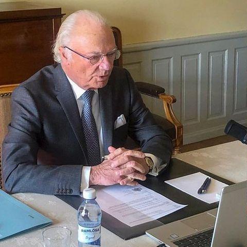 König Carl Gustaf un dPrinz Daniel im Homeoffice
