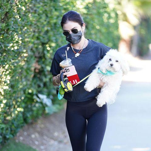 Da hat Lucy Hale ja alle Hände voll zu tun: In einer Hand ihren Hund Elvis und in der anderen Kopfhörer, Smartphone und Smoothie. Da hat sie das Aufwärm-Programm schon hinter sich, wenn sie beim Sport ankommt. Und mal ehrlich,allein diese artistische Meisterleistung hätte sie einen Orden verdient.