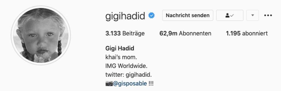 Gigi Hadid enthüllt den Namen ihrer Tochter in ihrem Instagram-Profil.