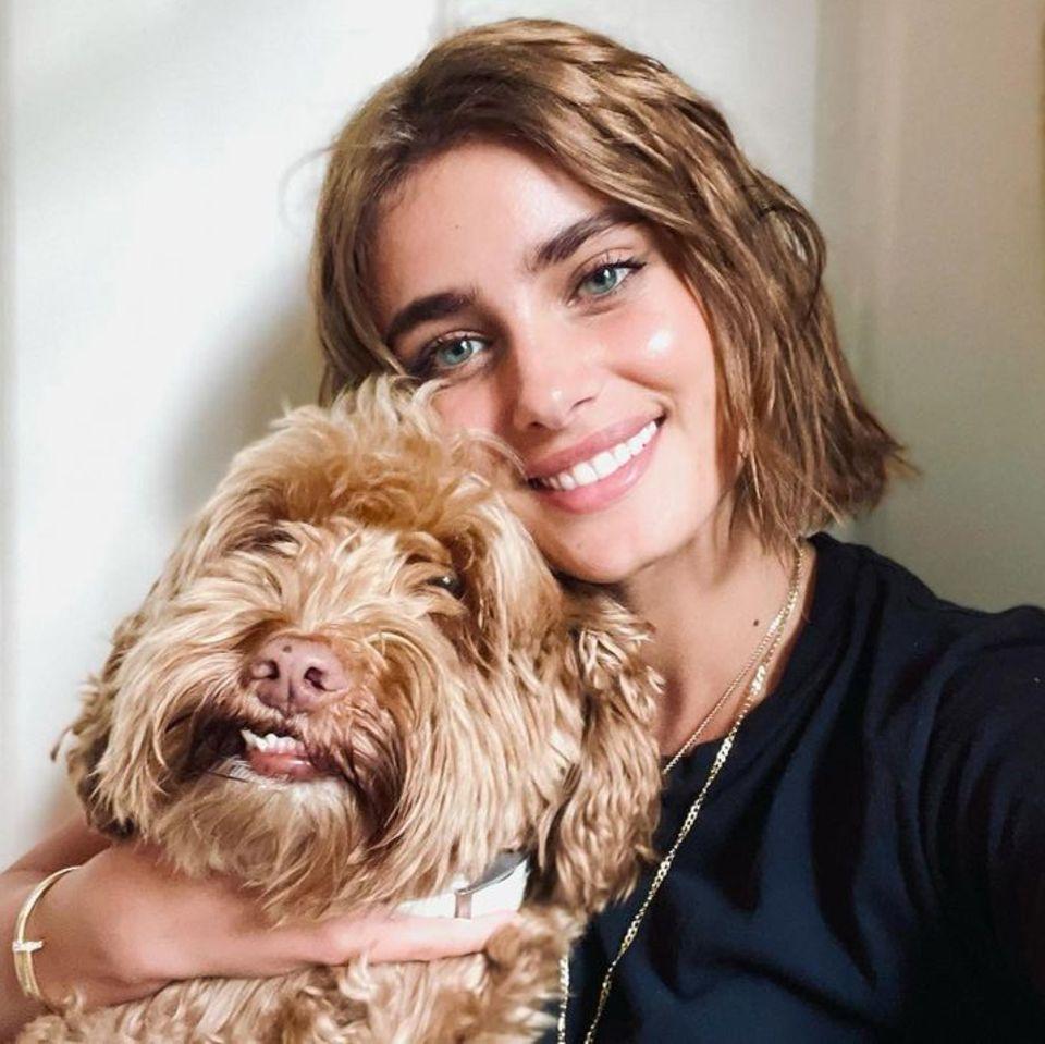 """Oft wird gesagt, dass Hundeihrem Besitzer sehr ähnlich sind. In dem Fall von Taylor Hill und ihrem Minidoodle """"Tate"""" ist das auf jeden Fall zutreffend. Der Vierbeiner und sein Frauchen tragen fast die gleiche Frisur."""